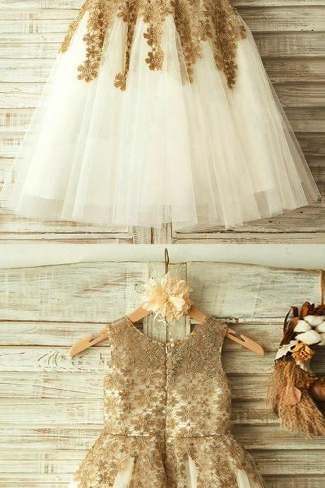 sweet flower girl dresses, cute baby gowns with champagne appliques, fashion dresses for baby girl