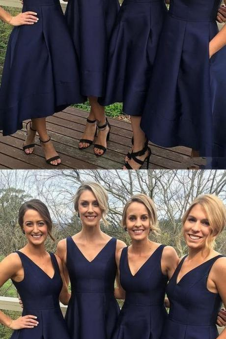 short a-line navy bridesmaid dresses, chic short v-neck party dresses, cheap elegant wedding party dresses