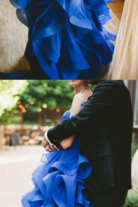 Modern Sweetheart Ruffles Bridal Dress, Fashion Floor-length Royal Blue Tulle Wedding Dress