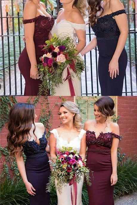 Custom Made Off Shoulder Lace Applique Long Mermaid Bridesmaid Dress