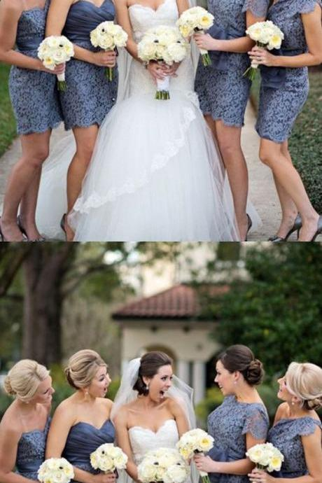 Sweetheart Short bridesmaid dresses, Gray Lace wedding party Dress with Sash