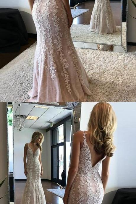 unqiue v neck mermaid prom dresses, stunning evening dresses with appliques, elegant v back party dresses