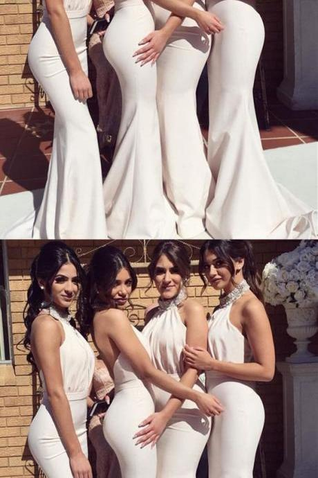 Beaded Halter Long Jersey Backless Mermaid Bridesmaid Dresses