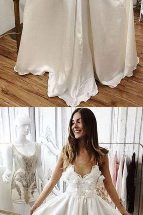 Charming A-Line V-Neck White Lace Long Prom/Evening/Wedding Dress