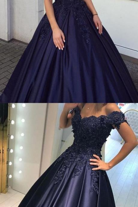 navy blue ball gowns prom dresses lace flowers beaded off the shoulder evening gowns