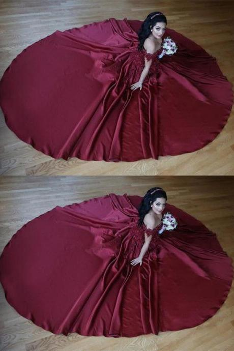 Burgundy Satin Ball Gowns Wedding Dresses V-neck Off The Shoulder Prom Gowns Lace Embroidery Beaded