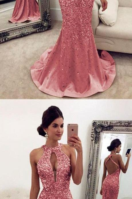 Luxurious Crystal Beaded Halter Open Back Mermaid Evening Dresses pink Prom Dresses