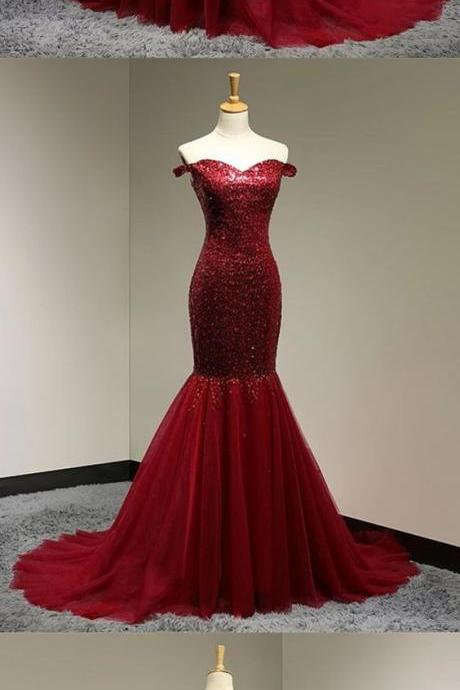 Burgundy Sequins Sweetheart Mermaid Evening Dress Off Shoulder Prom Gowns