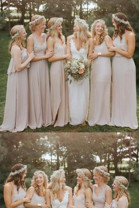 One Shoulder Bridesmaid Dresses, Sleeveless Pink Chiffon Bridesmaid Dresses, Long Simple Bridesmaid Dresses