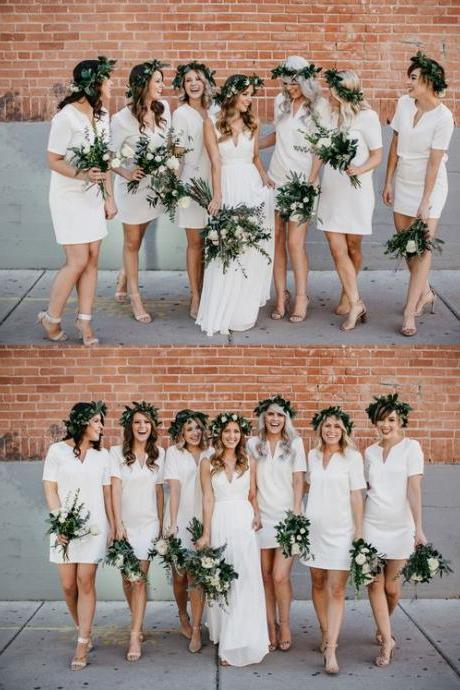 Bridesmaid Dresses with Short Sleeves , V-Neck Bridesmaid Dresses, Simple Short White Bridesmaid Dresses