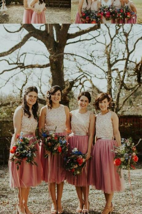 Sleeveless Bridesmaid Dresses With Beading, Elegant Bridesmaid Dresses, Blush Tulle Bridesmaid Dresses Country