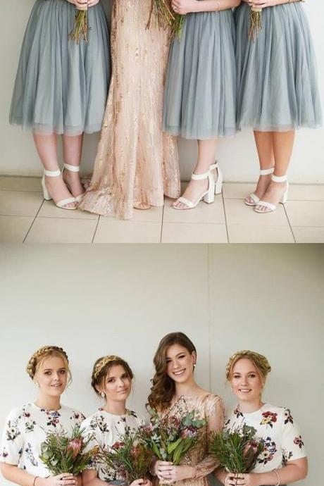 Grey Tulle Bridesmaid Dresses With Floral, Bridesmaid Dresses with Short-Sleeves, Elegant Bridesmaid Dress