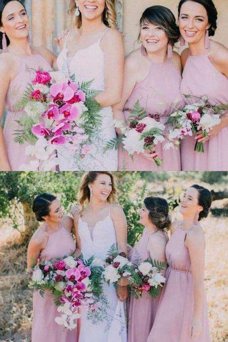 Long Pink Chiffon Bridesmaid Dresses, Rustic Bridesmaid Dresses, Halter Neck Modest Bridesmaid Dresses