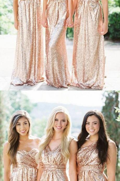 Sweetheart Rose Gold Bridesmaid Dress, Sparkly Sequin Bridesmaid Dress, Mismatched Long Bridesmaid Dresses