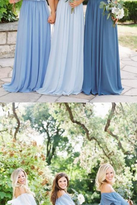 Custom Made Blue Off Shoulder Neckline Chiffon Maxi Bridesmaid Dress, Mismatched Bridesmaid Dress