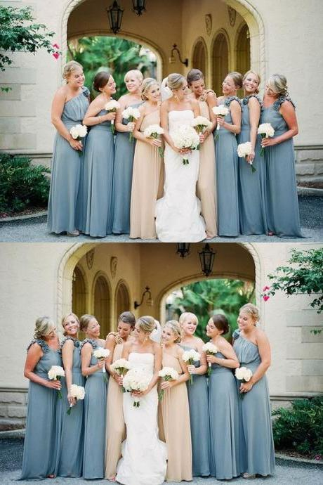 One Shoulder Bridesmaid Dresses, Bridesmaid Dresses Long, Modest Dusty Blue Bridesmaid Dresses