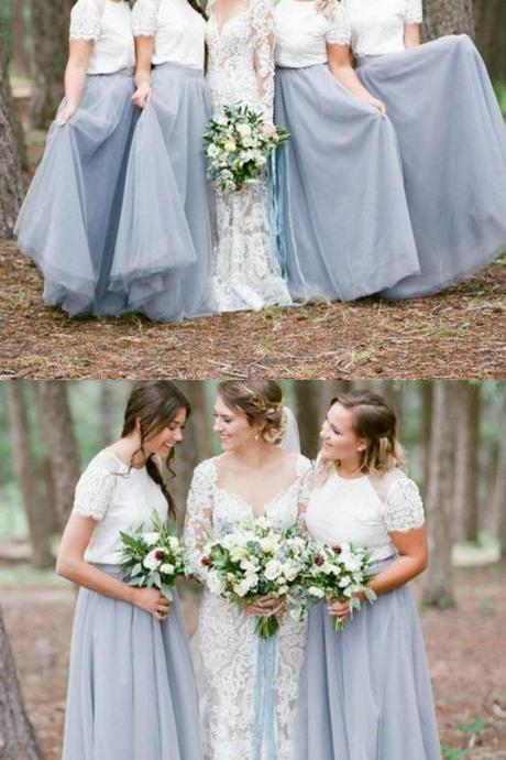 Long Bridesmaid Dresses with Lace, Bridesmaid Dresses with Short Sleeves, Modest Dusty Blue Bridesmaid Dresses