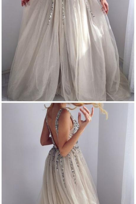 unique beaded grey long prom dresses, sexy backless a line graduation party gowns for teens