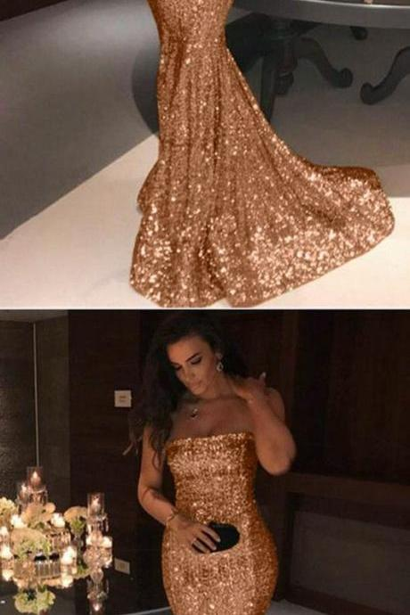 Long Champagne Bridesmaid Dresses Mermaid Strapless Sequins Evening Gowns