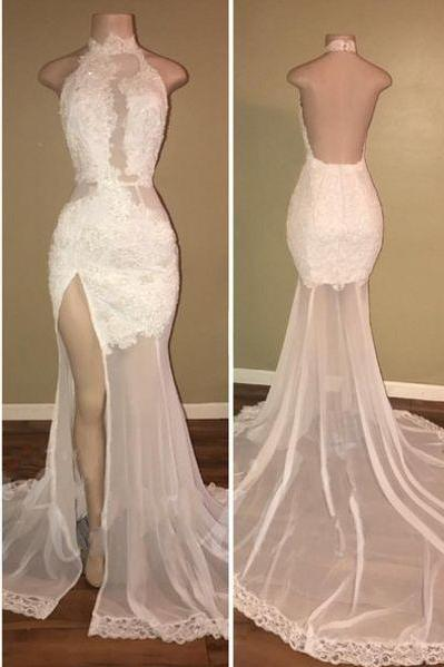 Elegant Sheer White Lace Slit Prom Dresses_High Neck Backless Evening Gowns