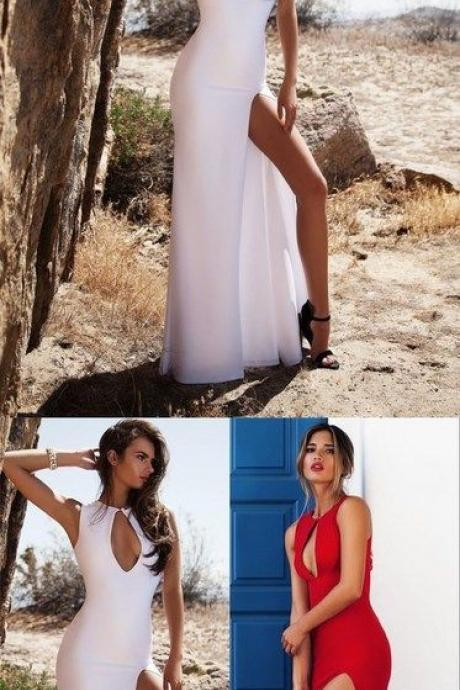 Dramatic Red Sleeveless Prom Dress,Sexy Side Slit Evening Dress,Chest Open Prom Dress