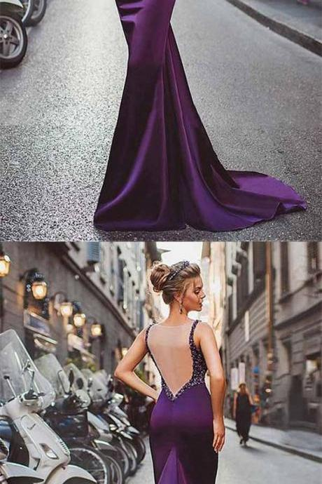 Purple Prom Dress,Beaded Prom Dress,Backless Prom Dress,Sheath Prom Dress, Long Evening Dresses