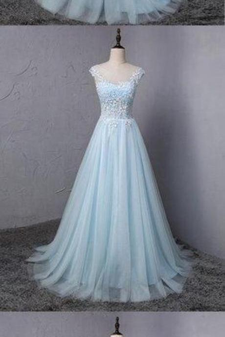 Light blue tulle scoop neck A-line long sweet 16 prom dress, lace formal dress