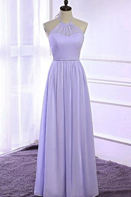 Lavender chiffon open back long strapless prom dress, bridesmaid dress