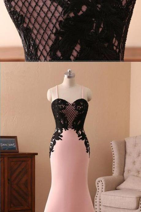 Sweetheart pink satin long spaghetti straps mermaid black lace prom dress