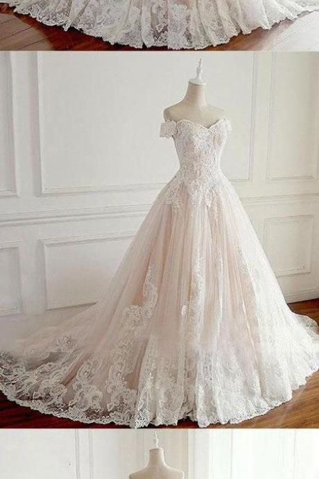 Unique lace tulle long wedding dress, lace long bridal dress, champagne tulle lace long prom dress