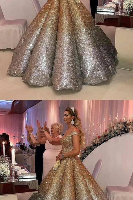 Bling Bling Sequins Ball Gowns Wedding Dresses Ombre Quinceanera Dress Off The Shoulder