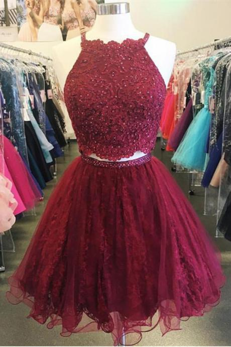 Mini Tulle Homecoming Dresses,Short Homecoming Dress,Burgundy Homecoming Dresses With Beading