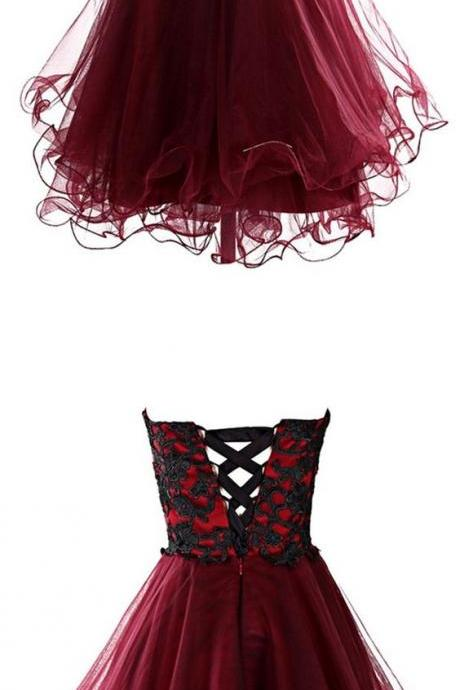 lovely homecoming dress,cute homecoming dress,homecoming dress with appliques,cocktail dress,burgundy cocktail dress,party dress