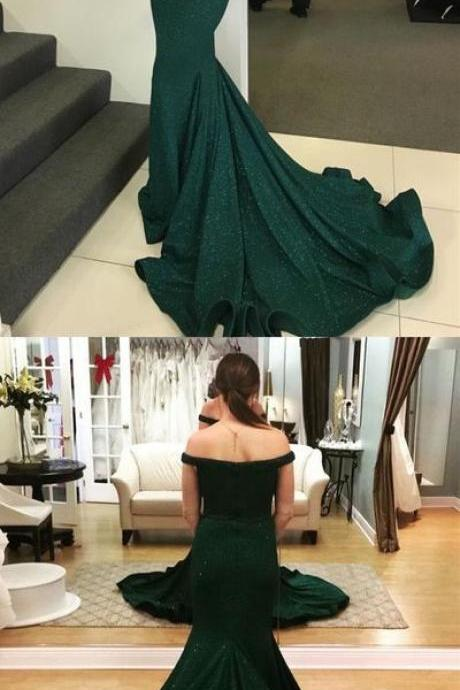 Mermaid Off-the-Shoulder Sweep Train Dark Green Prom Dress with Sequins, modest dark green mermaid prom dress