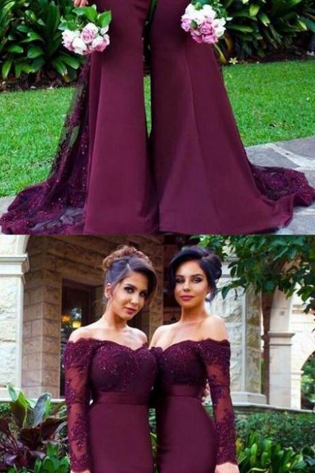 Hot Selling Mermaid Off-Shoulder Burgundy Satin Long Bridesmaid Dress with Appliques and Beading