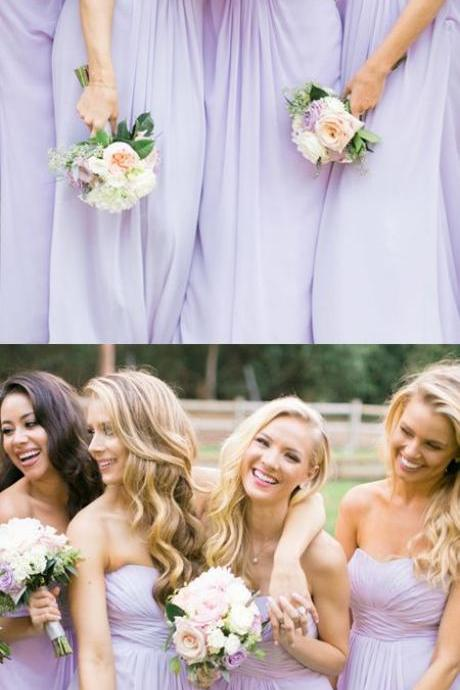 A-Line Sweetheart Chiffon Long Bridesmaid Dress