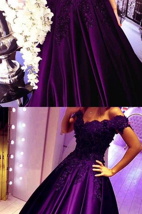 Grape Lace Flower Off The Shoulder Satin Prom Dresses Ball Gowns Quinceanera Dresses