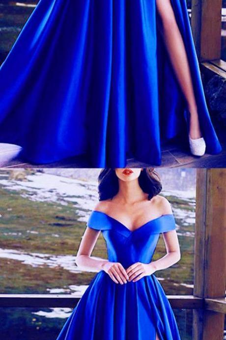Royal Blue Evening Gowns Off The Shoulder Formal Prom Dresses