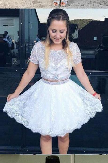 Two Piece Bateau Short Sleeves Backless White Lace Prom Homecoming Dress with Beading