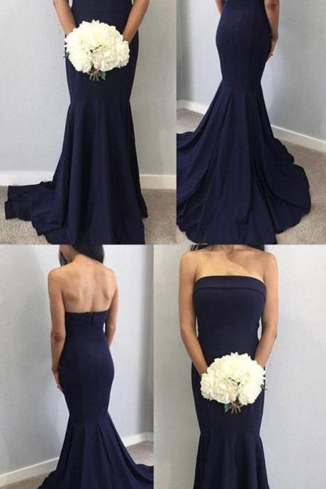 Sexy Strapless Long Corset Satin Simple Mermaid Bridesmaid Dresses