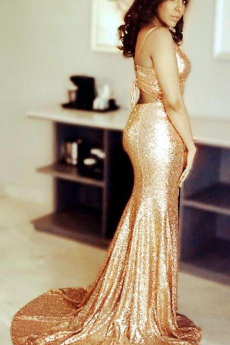 Pretty Sequins V-neck Open Back Court Train Mermaid Prom Dresses
