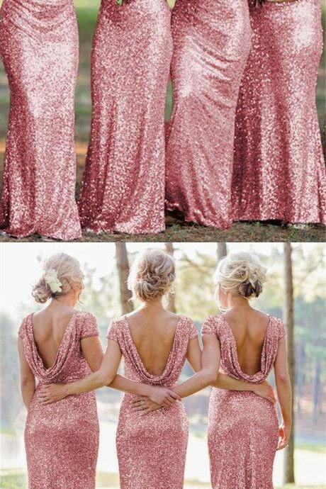 rose pink sequins bridesmaid dresses long mermaid formal gowns with cap sleeves and draped back