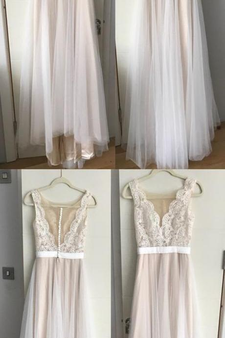Boho Lace Appliques Tulle Long Wedding Dresses Beach For Bride