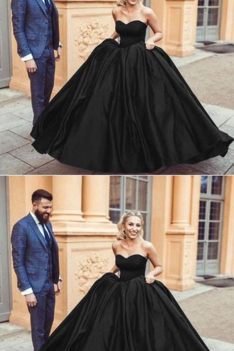 Black Satin Sweetheart Ball Gowns Quinceanera Dresses