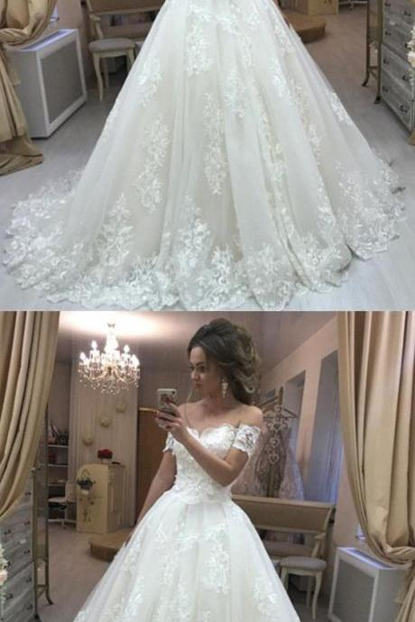 Vintage Lace Embroidery Off Shoulder Tulle Wedding Dresses Princess