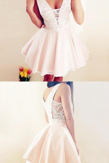 A-Line V-Neck Pink Satin Homecoming Dress with Lace