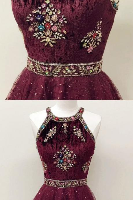 Sparkly Halter Burgundy Short Homecoming Dress with Beading