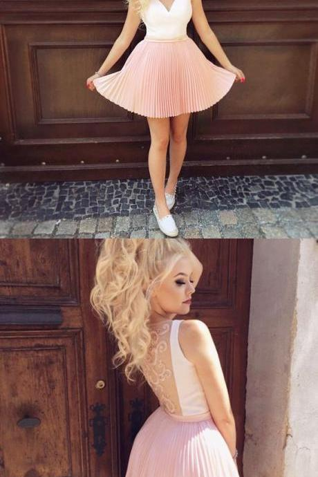 Sheer Backless Appliques Hoco Dresses, Cutest Pink Dresses for Freshman Homecoming, Stylish Short Prom Party Dress