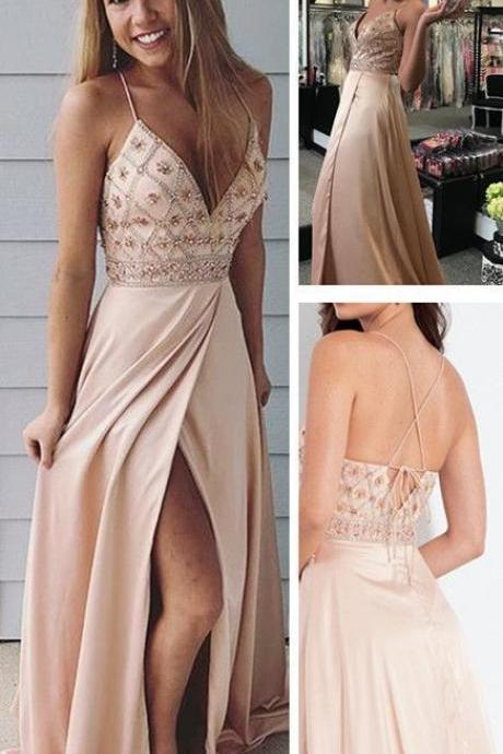 Spaghetti straps long prom dress, champagne beaded party dress with side slit