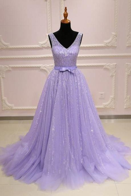 Lavender tulle V neck long customize A-line sequins senior prom dress with bowknot